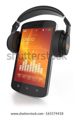 Modern headphones on musical smartphone - stock photo