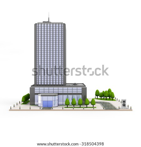 Modern Headquarters Building, Contemporary Business Center, Down Town Financial District isolated on white background - stock photo