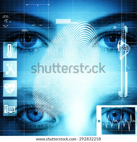 Modern health interface with eyes - stock photo