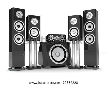 Modern HI-FI system (done in 3d, on white background) - stock photo