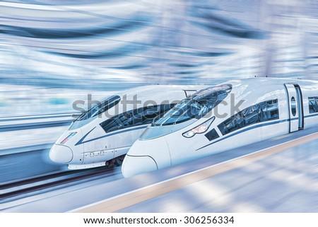 Modern Hi-Speed  Passenger Train. Motion effect.  - stock photo