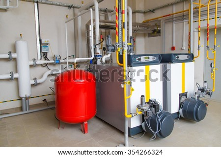 modern hi-tech gas boiler house with industrial coppers
