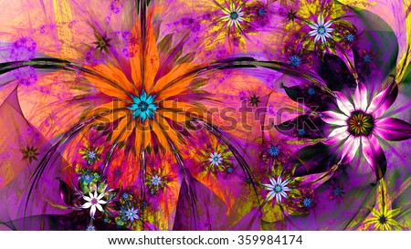 Modern high resolution flower background with two detailed large wavy plastic flowers with natural looking 3D leaves surrounded by a field of smaller ones,all in dark vivid orange,pink,purple,yellow - stock photo