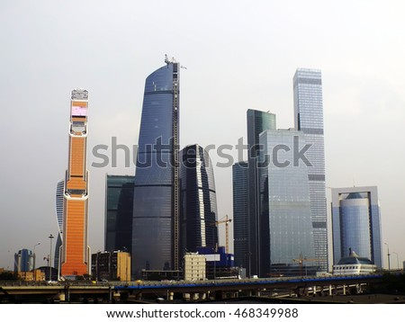 modern high rise buildings in Moscow City in the city center