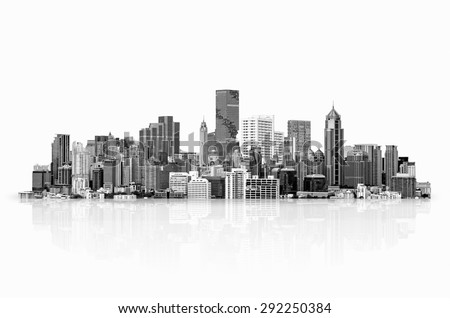 Modern high-rise buildings Isolated on white background, with clipping path. Black & White style. - stock photo