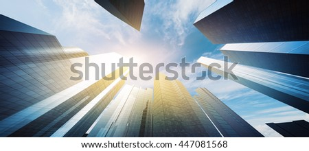 Modern high skyscrapers. 3D rendering - stock photo