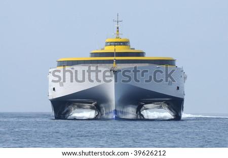 Modern high speed ferry ship - stock photo