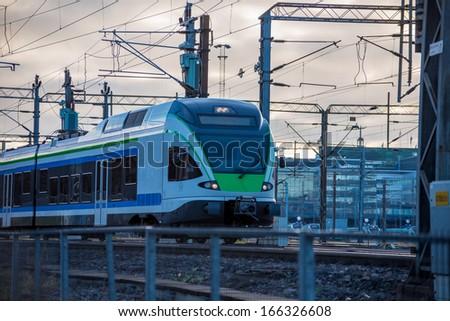 Modern high speed train. Helsinki. Finland. - stock photo