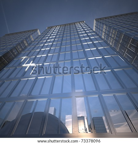 Modern highly reflective office building - stock photo