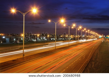Modern Highway at Night