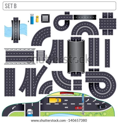 Modern Highway Map Toolkit. Top View Position. Pack Include: Seamless Road Elements, Bridges, Buildings, Markers and Various Vehicles. Design Clip Art