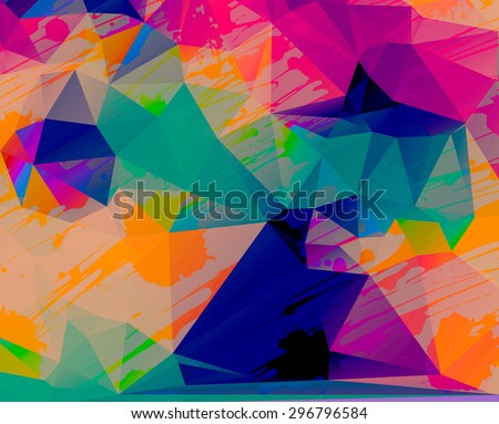 Modern hipster background. Colorful geometric backtop. Grunge design. Polygonal art. Abstract artistic background. Web design background. - stock photo