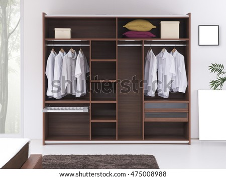 modern home bedroom and contemporary wooden wardrobe hanging dress shirt