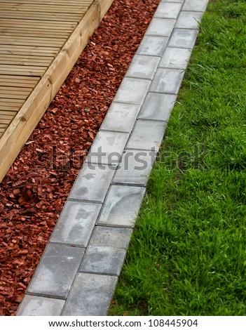 Modern home garden terrace building materials concept - stock photo