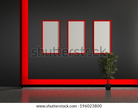 Modern home interior and frame on the black wall. 3D.