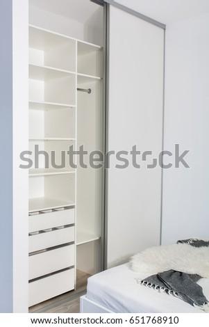 modern home interior builtin wardrobe sliding doors stock photo