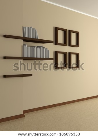 Modern home interior with beige wall, four frames and book shelves. 3D. - stock photo