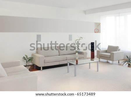 Modern home interior with free wall space