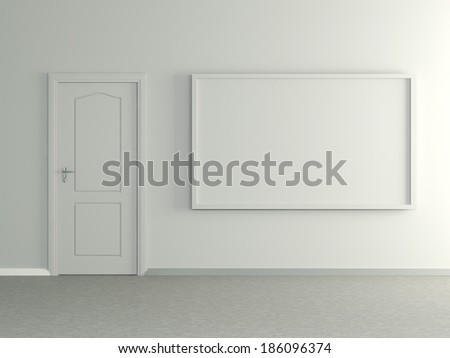 Modern home interior with picture frame the wall and door. 3D. - stock photo