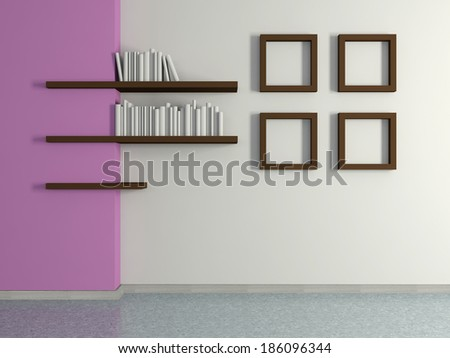 Modern home interior with violet magenta wall, four frames and book shelves. 3D. - stock photo