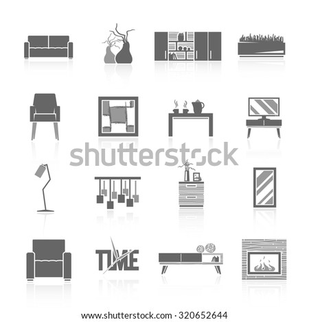Modern Furniture Icon modern home living room furniture black stock vector 273117101