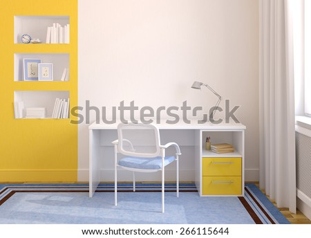 Modern home office interior. 3d render. Pictures in frames was painted by me in photoshop. - stock photo