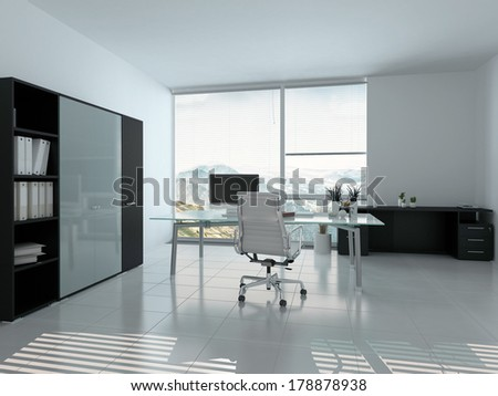 Modern home office interior with desk - stock photo