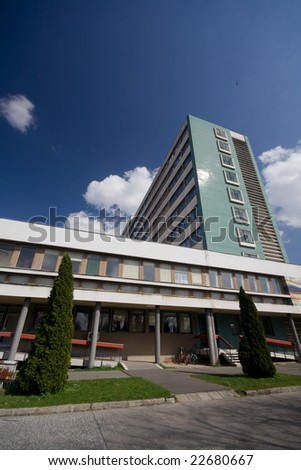 modern hospital building outdoor - stock photo
