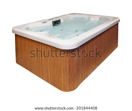 Modern hot tub with wooden frame isolated with clipping path included - stock photo