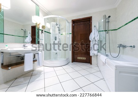 Modern hotel bathroom interior - stock photo