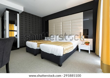 Modern hotel bedroom interior