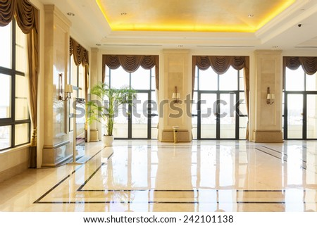 modern hotel interior and corridor - stock photo