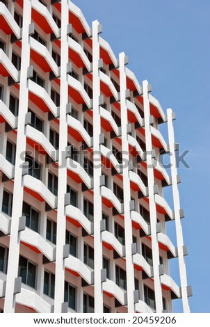 modern hotel room balconies - stock photo