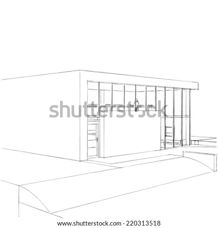 Modern House Building Sketch Stock Illustration 220313482