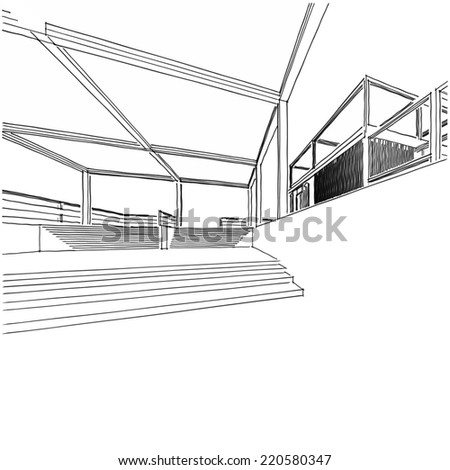 modern house building sketch