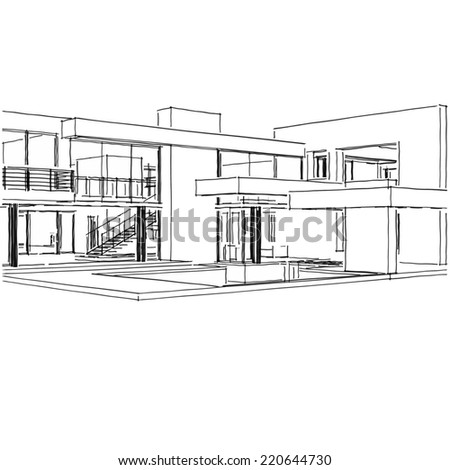 Modern house building sketch stock illustration 220644730 for Modern house sketch