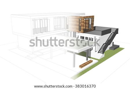 Modern house concept sketch to render - stock photo