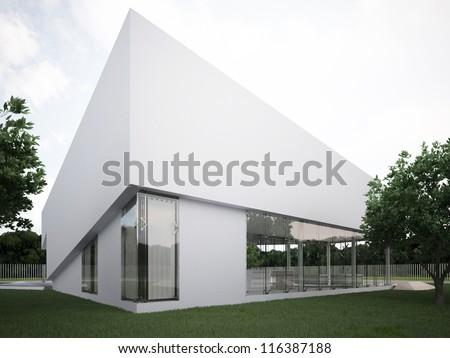 Modern house design, contemporary architecture, hi tech project - stock photo