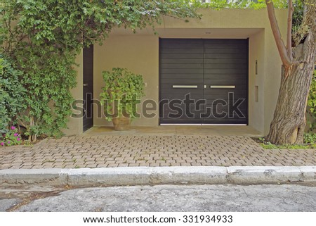 modern house entrance, Athens suburbs, Greece