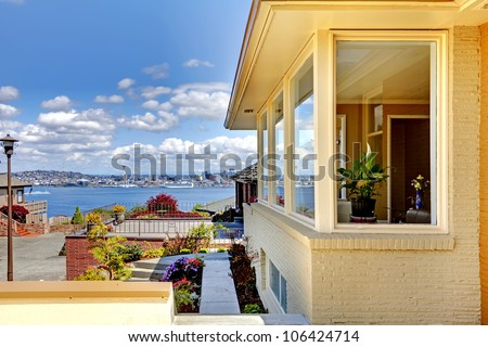 Modern house exterior and amazing view of Seattle. - stock photo