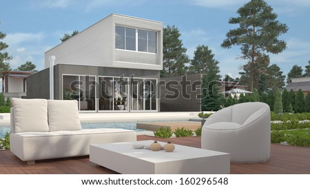 Modern house exterior with garden - stock photo