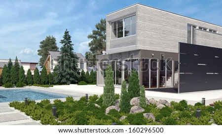 Modern house exterior with swimming pool - stock photo
