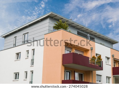modern house facade in Essen Germany and blue sky - stock photo
