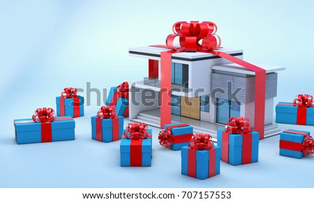 modern house home and ribbon, real estate gift, 3d rendering