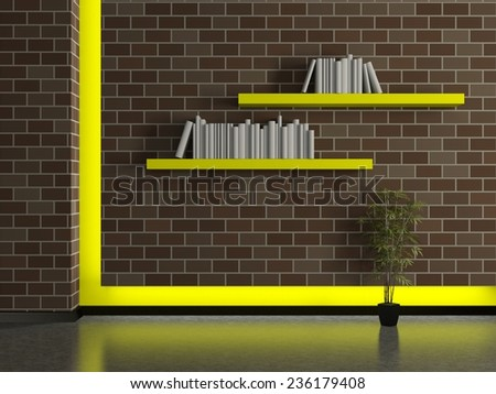 Modern house interior, dark brick wall with book shelves and a yellow frame. 3D - stock photo