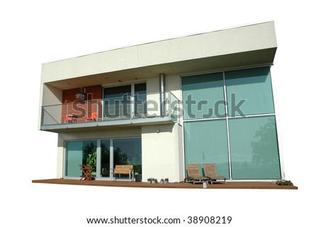 modern house isolated on white with clipping mask - stock photo