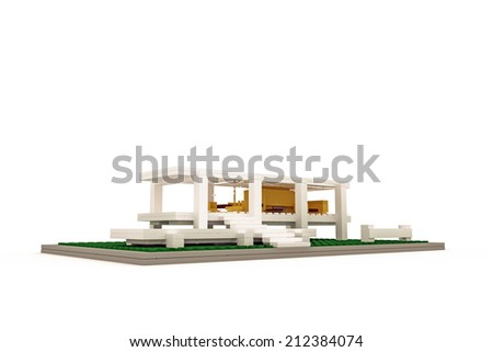 modern house made of plastic bricks isolated on white background