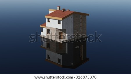 Modern house model on the mirror. - stock photo