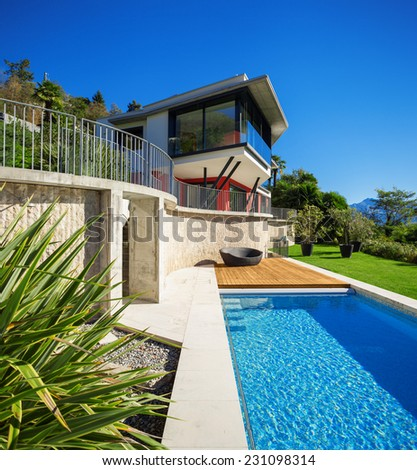 Modern house, outdoor - stock photo