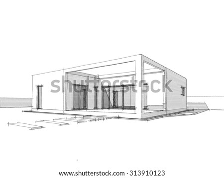 Modern House Sketch Black White 3 Stock Illustration 313910123